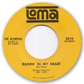 45 rpm vinyl record label scan of Loma 2010 - The Olympics - Rainin' in my heart