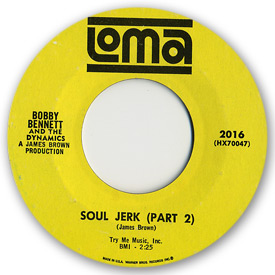 45 rpm vinyl record label scan of Loma 2016 - Bobby Bennett and the Dynamics - Soul jerk part 2