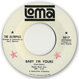 The Olympics - Baby I'm yours - on Loma Records