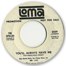 Loma records. Label scans of rare Loma 45 rpm vinyl records. Loma 2039: The Apollas - You'll always have me