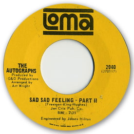 Loma records. Label scans of rare Loma 45 rpm vinyl records. Loma record labe scan. Loma 2040: The Autographs - Sad sad feeling part 2