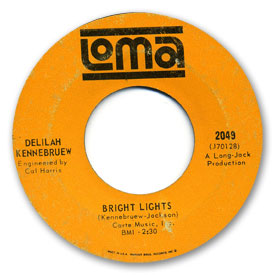 Loma records. Loma 2049 - Delilah Kennebruew - Bright lights. Label scans of rare Loma 45 rpm vinyl records.