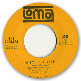Loma records. Label scans of rare Loma 45 rpm vinyl records.   Loma 2053 The Apollas - My soul concerto