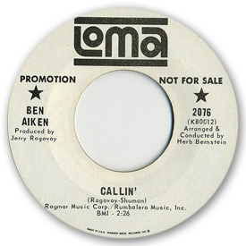 Loma records. Label scans of rare Loma 45 rpm vinyl records. Northern soul. Loma 2076: Ben Aiken - Callin'