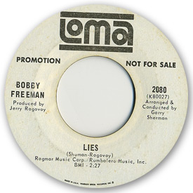 Loma records. Label scans of rare Loma 45 rpm vinyl records. Northern soul. Loma 2080 - Bobby Freeman - Lies