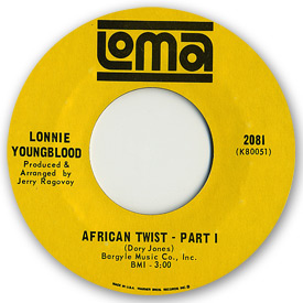 Loma records. Label scans of rare Loma 45 rpm vinyl records. Northern Soul. Loma 2081: Lonnie Youngblood - African twist pt1