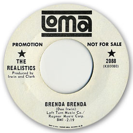 45 rpm vinyl record label scan of Loma 2088: The Realistics - Brenda Brenda