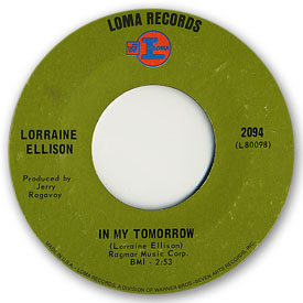 45 rpm vinyl record label scan of Loma 2094 - Lorraine Ellison - In my tomorrow
