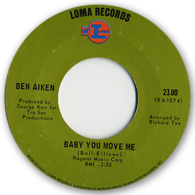 Loma records. Label scans of rare Loma 45 rpm vinyl records. Loma 2100: Ben Aiken - Baby you move me / Thanks to you