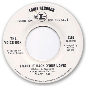 Loma records. Label scans of rare Loma 45 rpm vinyl records. Northern Soul music, Loma 2101 - The Voice Box - I want it back (Your love)