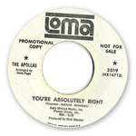 White promo copy of The Apollas 45 record onthe Loma label