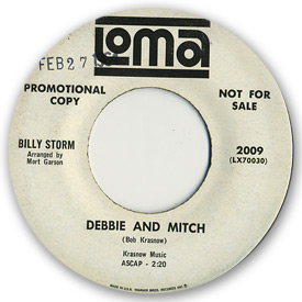 45 rpm vinyl record label scan of Loma 2009 - Billy Storm - Debbie and Mitch