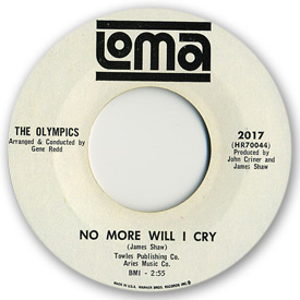 45 rpm vinyl record label scan of Loma 2017 - The Olympics - No more will I cry