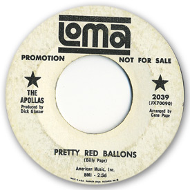 Loma records. Label scans of rare Loma 45 rpm vinyl records. Loma 2039: The Apollas - Pretty red balloons