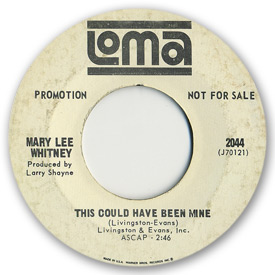 Loma records. Label scans of rare Loma 45 rpm vinyl records.   Loma 2044 - Mary Lee Whitney - This could have been mine