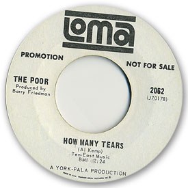 45 rpm vinyl record label scan of Loma 2062 - The Poor - How many tears