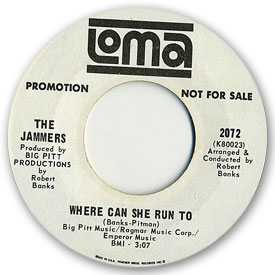 45 rpm vinyl record label scan of Loma 2072: The Jammers - Where can she run to