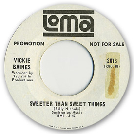 Loma records. Label scans of rare Loma 45 rpm vinyl records.   SNorthern Soul. Loma 2078 - Vickie Baines - sweeter than sweet things