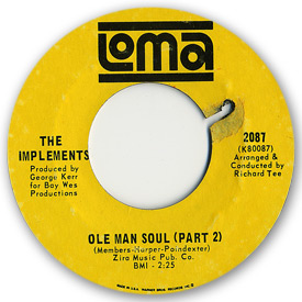 Loma records. Label scans of rare Loma 45 rpm vinyl records. Loma 2087: The Implements - Ole man soul (Part2)