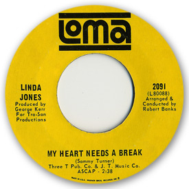 Loma 2091, Linda Jones - My heart needs a break on Loma records. Label scans of rare Loma 45 rpm vinyl records. Northern Soul.