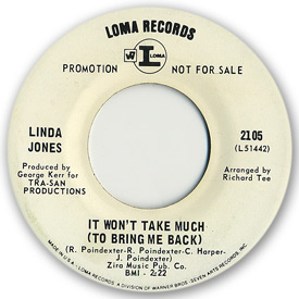 Loma records. Label scans of rare Loma 45 rpm vinyl records. Label scan. Loma 2105: Linda Jones - It won't take much (To bring me back to you)