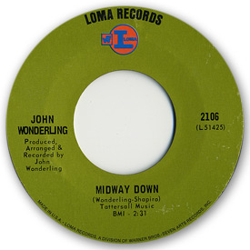 Loma records. Label scans of rare Loma 45 rpm vinyl records. Label scan. Loma 2106: John Wonderling - Midway down
